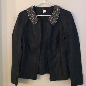 NWOT Venus Faux Leather Jacket Beaded Coll…